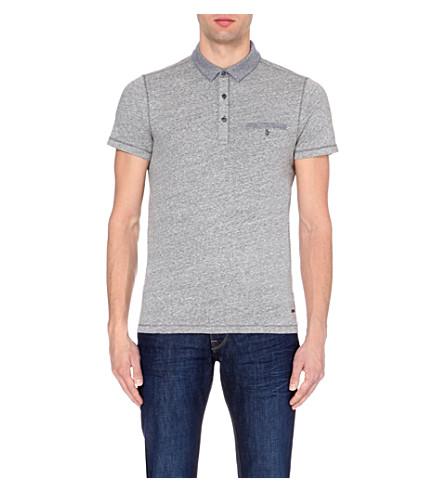 BOSS Contrast-trim cotton-jersey polo shirt (Light/pastel+grey
