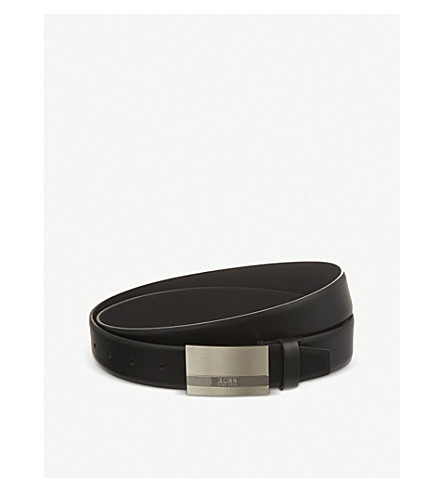 BOSS Cow skin buckled belt (Black