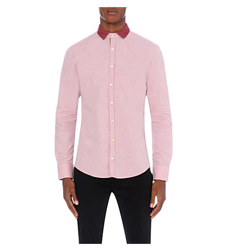 HUGO BOSS Slim-fit cotton shirt (Medium+red
