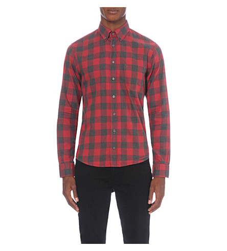 hugo boss checked flannel shirt