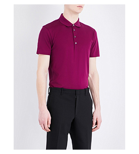 BOSS Leisure cotton-piqué polo shirt (Dark+purple