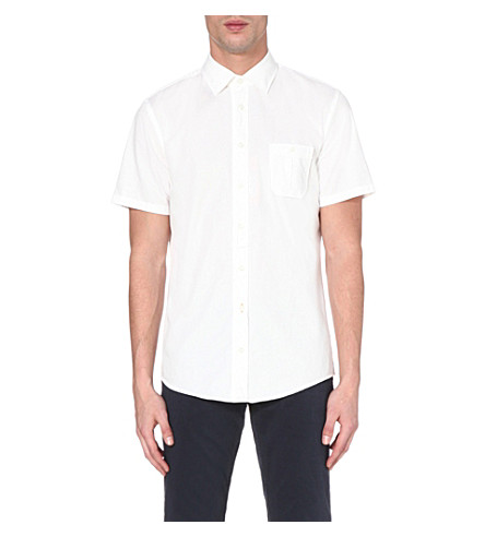 HUGO BOSS Slim-fit short-sleeved shirt (White