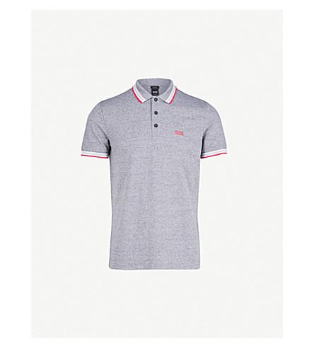 a52420f6a BOSS Logo-detail cotton-blend polo shirt (Dark+blue