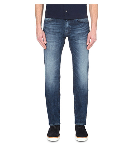 HUGO BOSS Leisure regular-fit mid-rise jeans (Bright+blue
