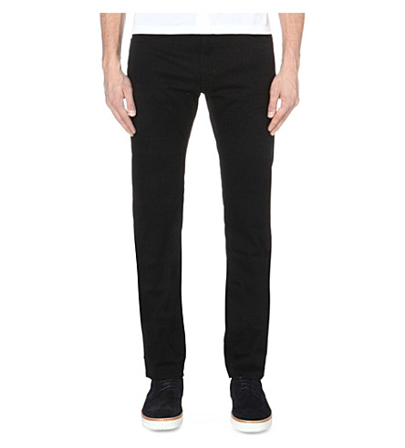 HUGO BOSS Leisure slim-fit tapered stretch-denim jeans (Black