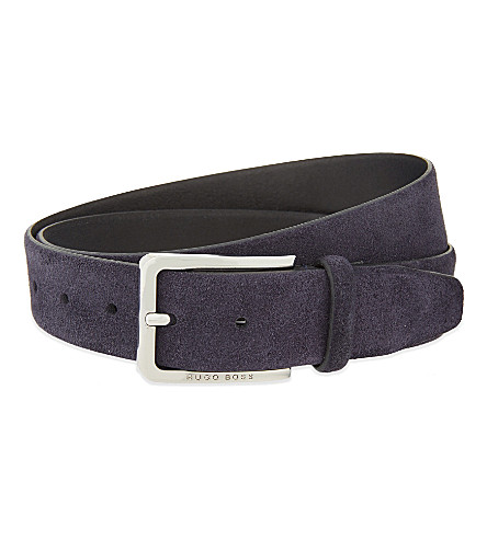 BOSS BLACK Cansian-G suede belt (Dark+blue
