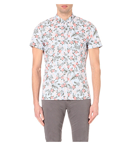 HUGO BOSS Floral-printed short-sleeved cotton shirt (Medium+blue
