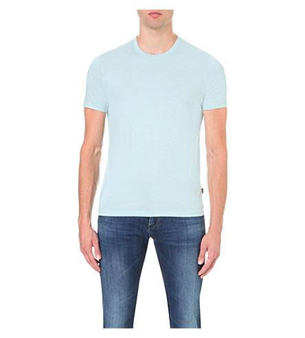 BOSS BLACK CASUAL Slim-fit cotton-jersey t-shirt (Light/pastel+green