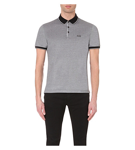 BOSS Contrast-trim cotton-jersey polo shirt (Black