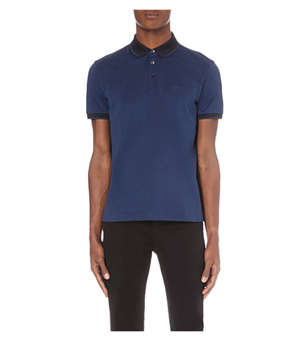HUGO BOSS Contrast-trim cotton-jersey polo shirt (Dark+blue