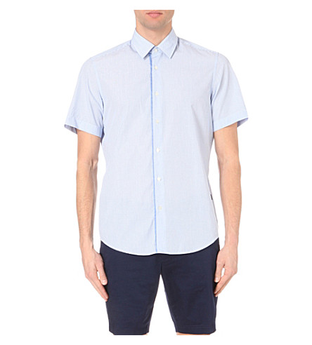 BOSS Pinstriped cotton shirt (Bright+blue