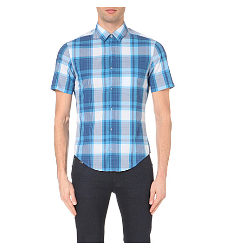 BOSS Checked cotton shirt (Medium+blue