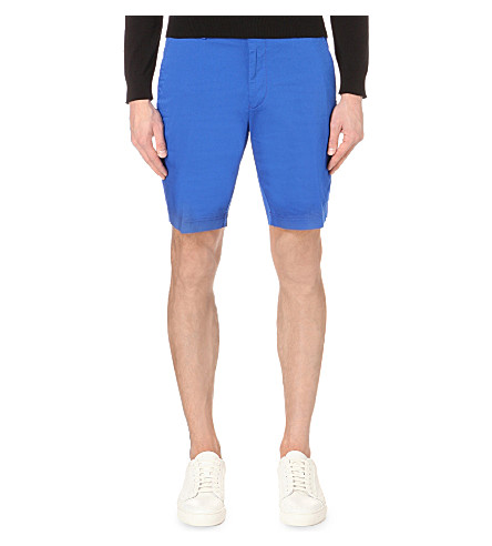 HUGO BOSS Regular-fit mid-rise shorts (Bright+blue