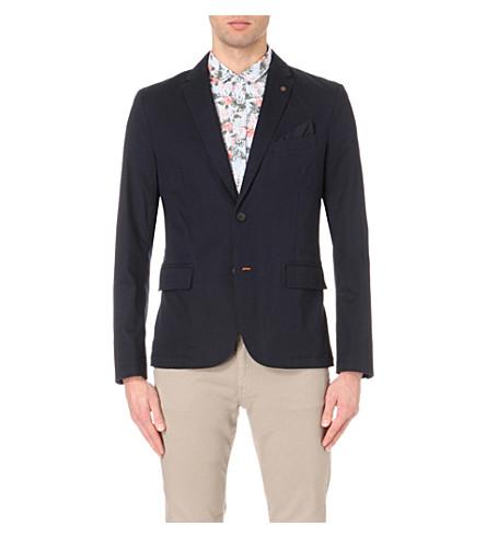HUGO BOSS Button-up woven jacket (Dark+blue
