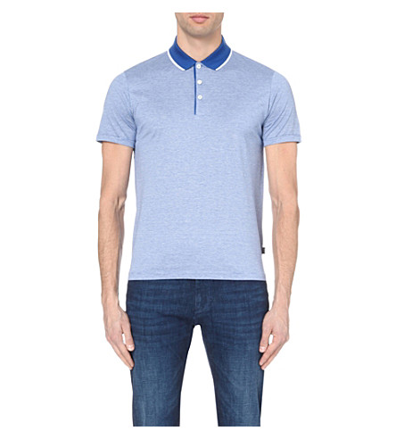 HUGO BOSS Cotton-jersey polo shirt (Bright+blue