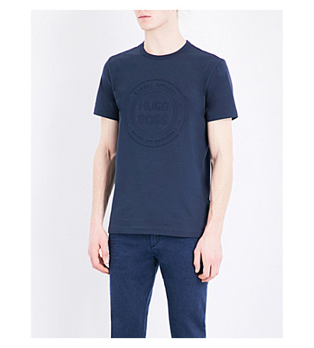 BOSS GREEN Embossed-logo cotton-jersey T-shirt (Navy