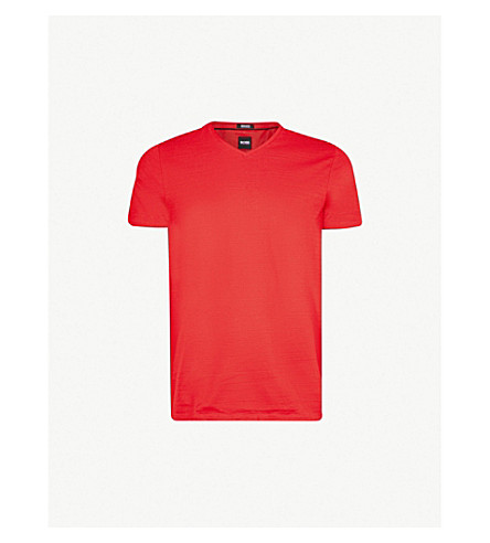 BOSS V-neck textured cotton T-shirt (Dark+pink