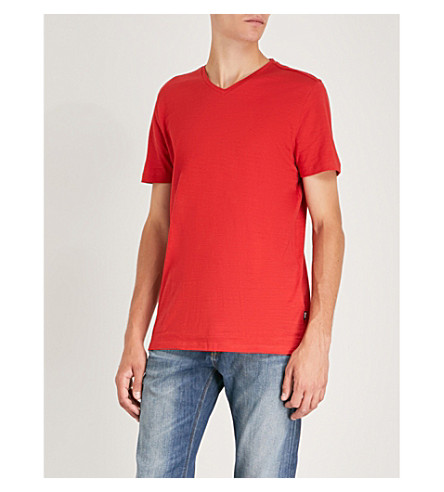 BOSS V-neck textured cotton T-shirt (Dark+pink