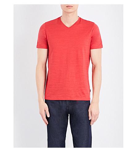 BOSS V-neck textured cotton T-shirt (Medium+red