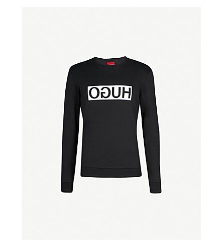 HUGO Reverse Logo cotton-jersey sweatshirt (Black