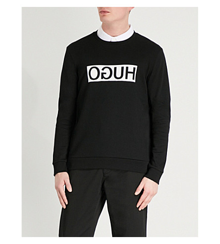 HUGO Reverse Logo cotton-jersey sweatshirt (Black