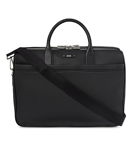 BOSS BLACK Traveller matte leather double laptop bag (Black