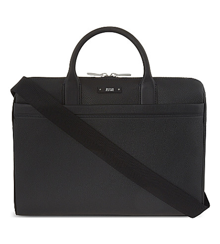 BOSS Large leather work bag (Black