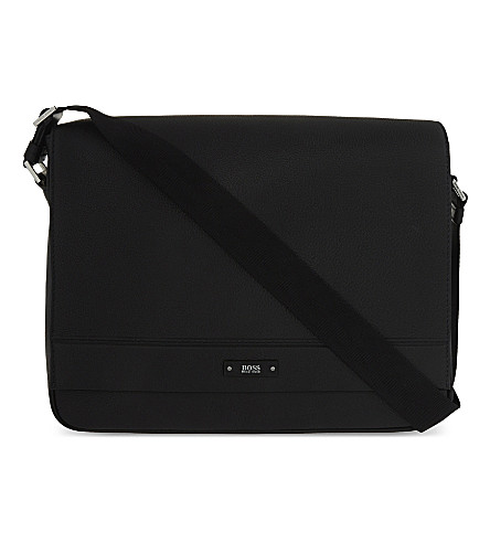 BOSS BLACK Traveller matte leather messenger (Black