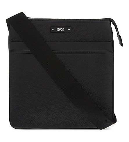 BOSS BLACK Embossed leather pouch (Black