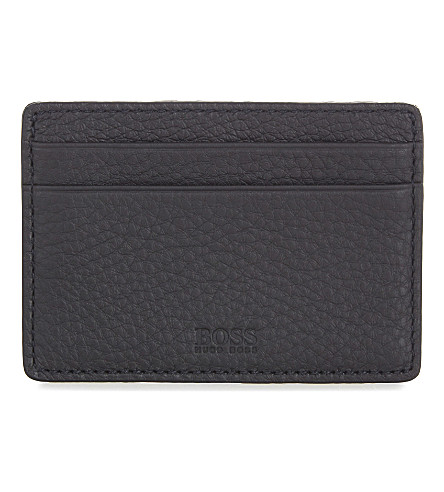 BOSS BLACK Small leather card holder (Black
