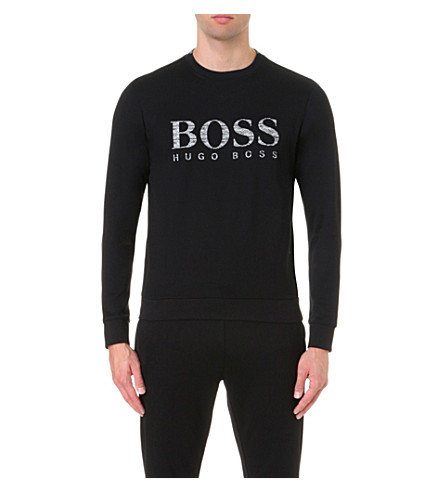 BOSS GREEN Logo print cotton-blend jumper (Black