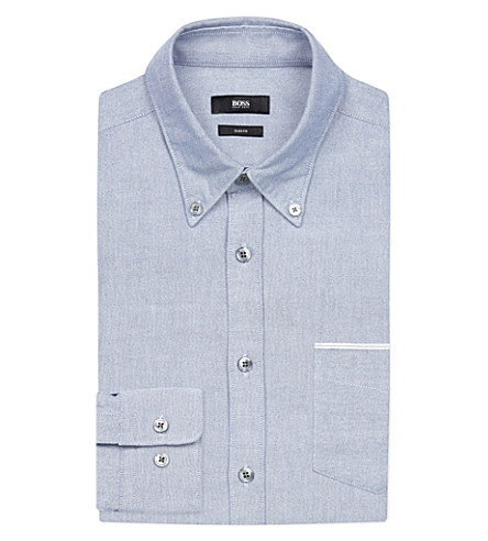 BOSS Slim-fit cotton Oxford shirt (Bright+blue