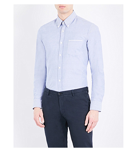 BOSS Slim-fit cotton Oxford shirt (Dark+blue