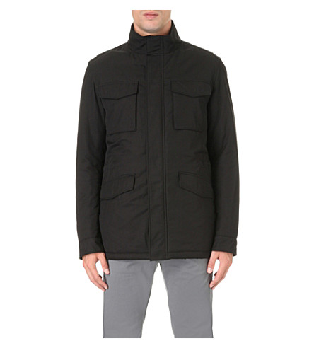 BOSS Stand-collar water-repellent shell jacket (Black