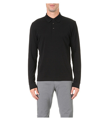 BOSS Regular-fit stretch-cotton polo shirt (Black