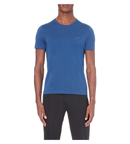 BOSS Leisure slim-fit cotton-jersey T-shirt (Bright+blue