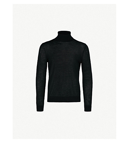 HUGO高领毛衣针织羊毛混纺毛衣 (黑色