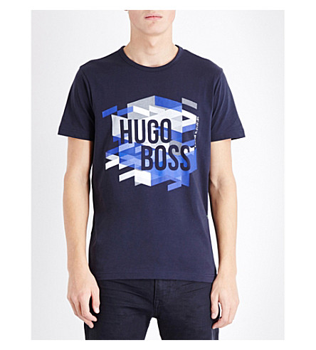 BOSS Logo print cotton T-shirt (Navy
