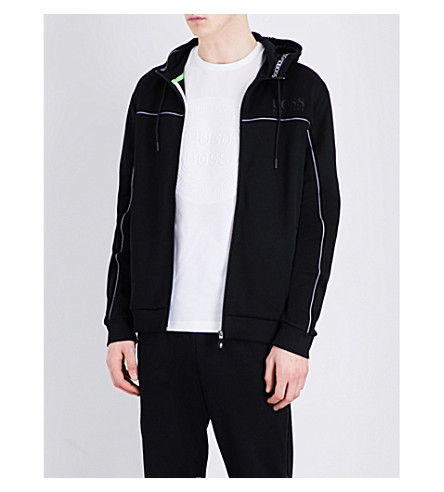 BOSS GREEN Cotton-jersey hooded sweatshirt (Black