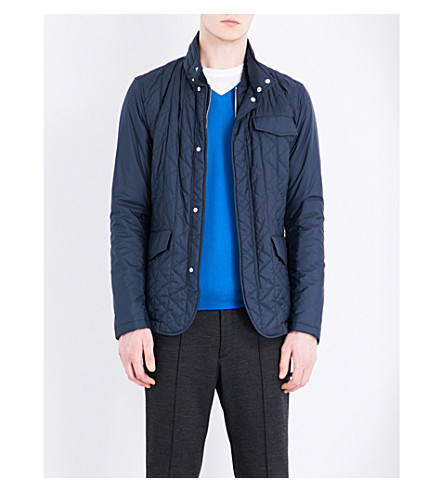 BOSS Hooded quilted shell jacket (Dark+blue