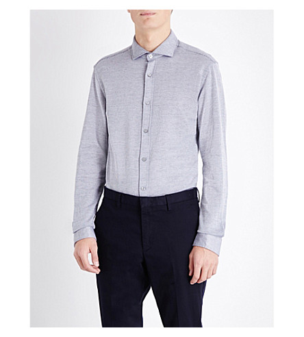 BOSS Slim-fit cotton shirt (Dark+blue