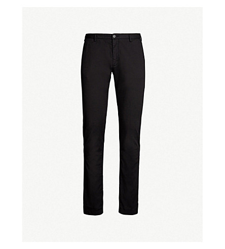 BOSS Tapered stretch-cotton chinos (Black