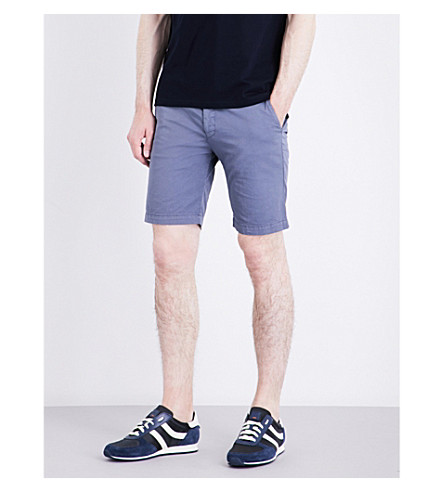 STEMAR Slim-fit mid-rise cotton shorts (Open+blue