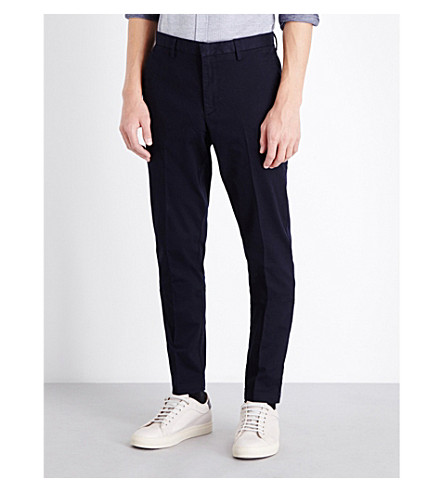 BOSS BLACK CASUAL Slim-fit tapered stretch-cotton chinos (Dark+blue