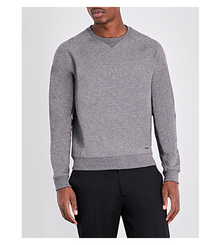BOSS Slim-fit cotton-blend jersey jumper (Medium+grey