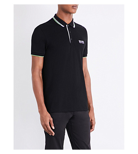 BOSS GREEN Contrast-trim jersey polo shirt (Black