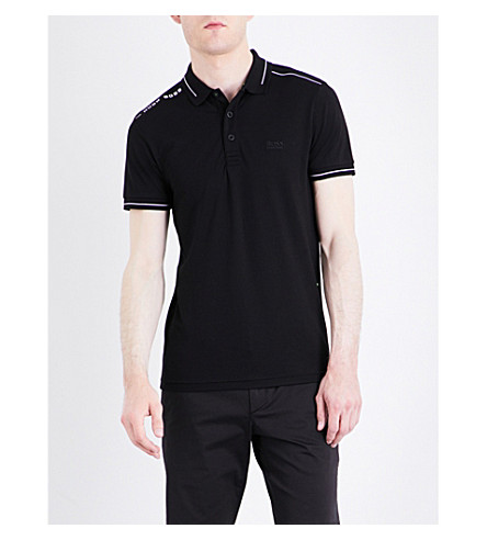 BOSS GREEN Slim-fit jersey polo shirt (Black