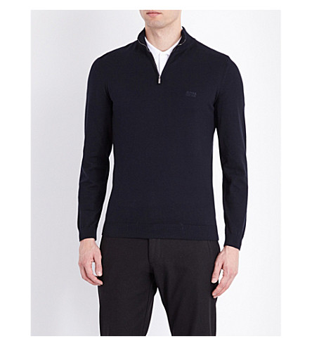 BOSS Half-zip knitted jumper (Dark+blue