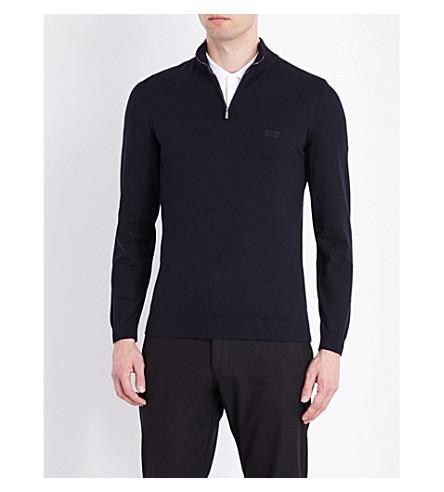 BOSS Half-zip knitted sweater (Dark+blue