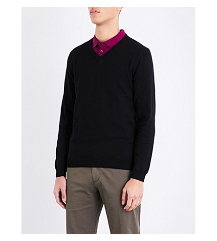 BOSS Slim-fit cotton jumper (Black